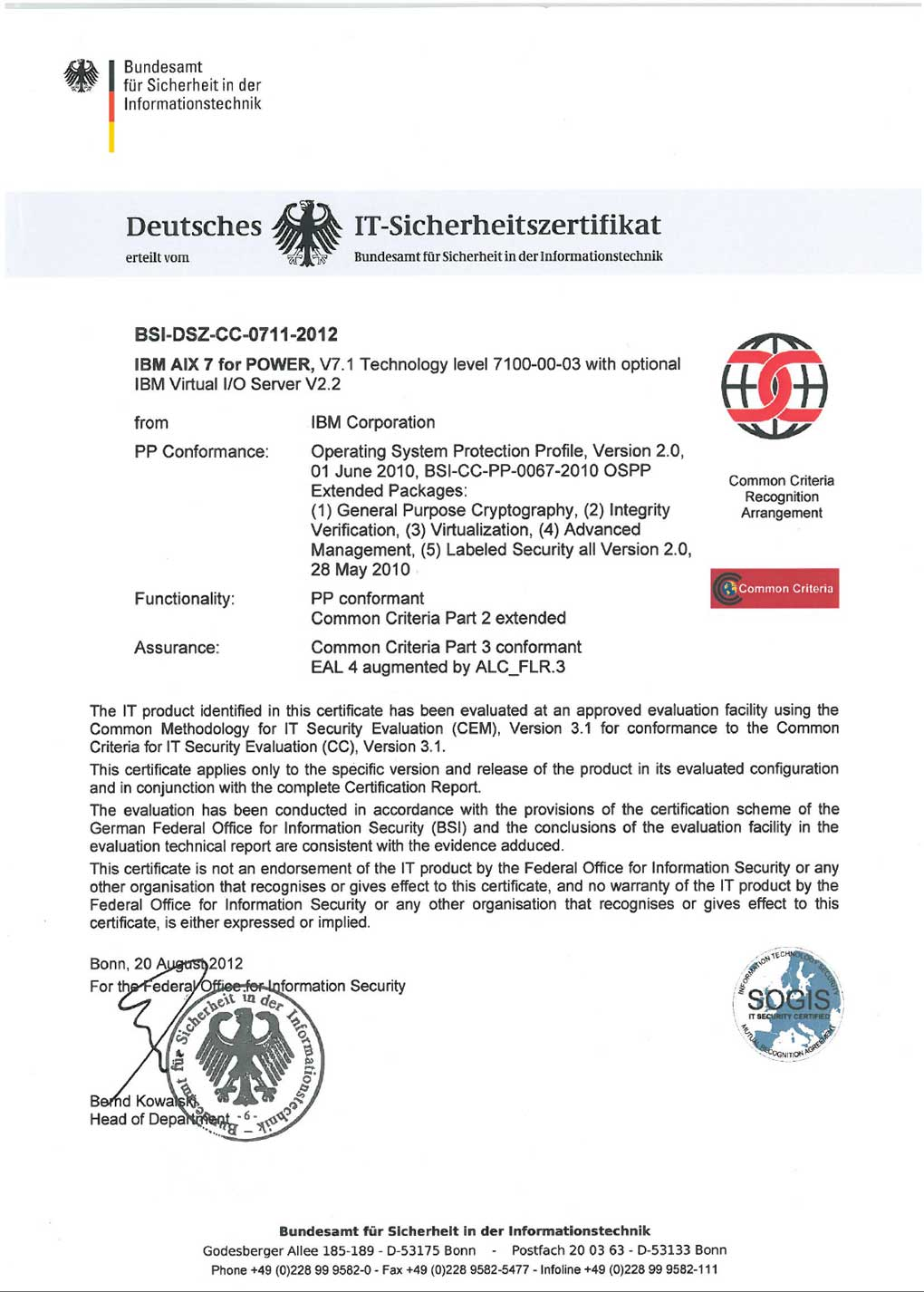 Aix 7 Receives Osppeal4 Common Criteria Security Certification